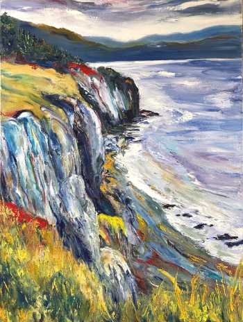 Backside Beach (left), original oil painting by Brenda McClellan