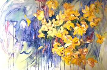 Blast of Yellow I, original oil painting by Brenda McClellan