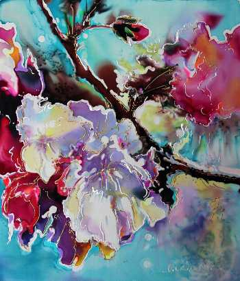Dye on Silk painting by Natalia CharapovaCherry Blossoms