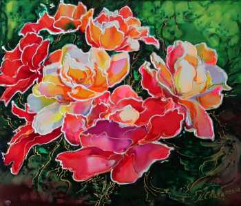 Dye on Silk painting by Natalia Charapova, Wild Roses