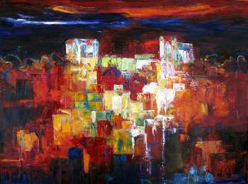 City Lights I, Original oil painting by Brenda McClellan